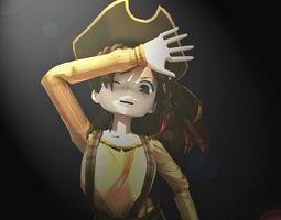 Pirate anime girl 3D model