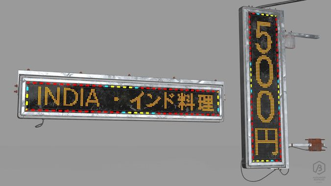 game ready japanese signs set neon signs sign led medium 3d model obj mtl fbx ma mb 1