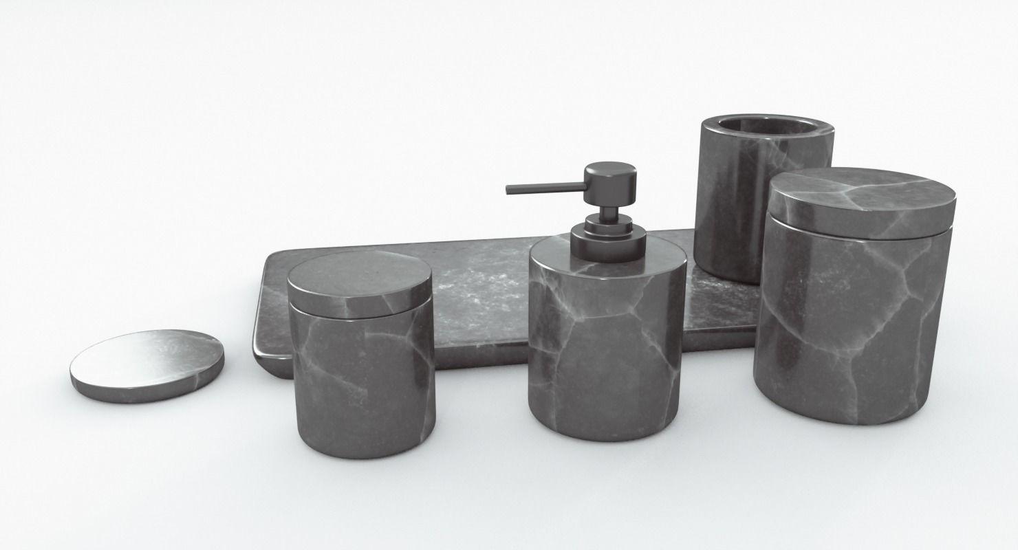 Black Marble Bathroom Accessories 3d Model Cgtrader