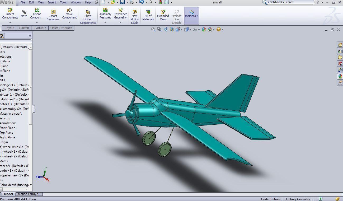 Aircraft Model Sldprt Sldasm Slddrw 1