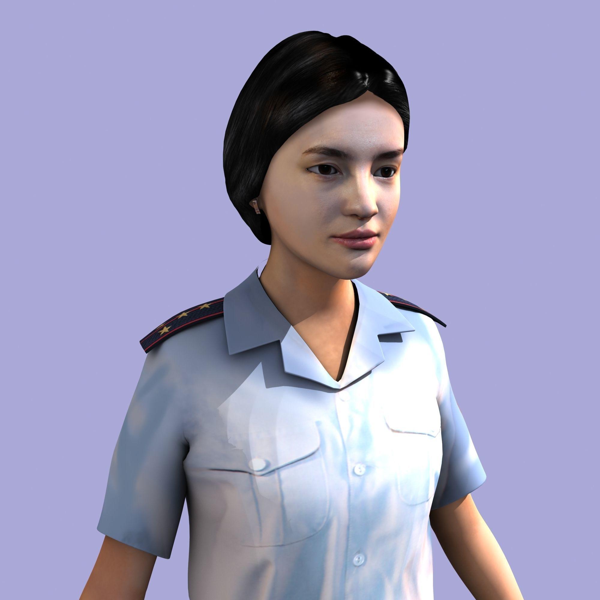 Asian woman - soviet police officer