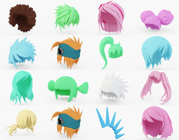 Anime Hair Collection 3D model