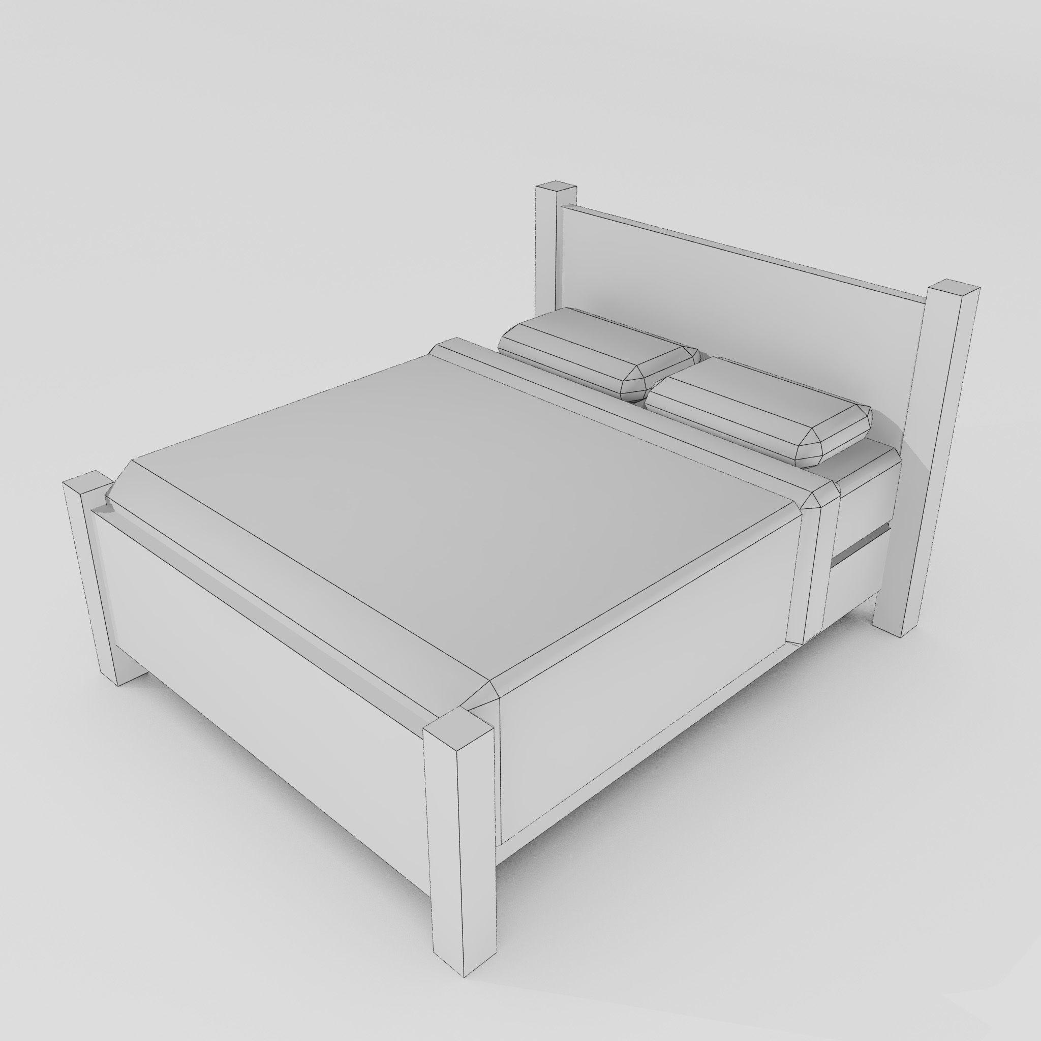 ... Double Bed 3d Model Max Obj 3ds Fbx Mtl Unitypackage 5 ...