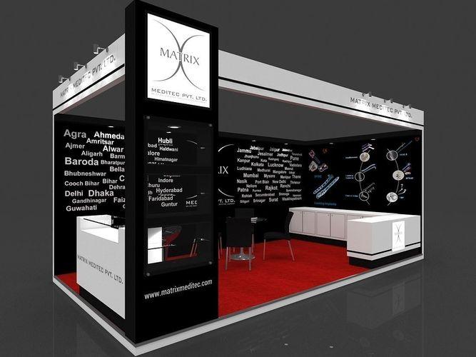 exhibition stall 3d model 6x3 mtr 2 sides open matrix meditec 3d model max 1