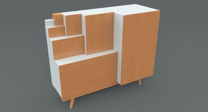 Japanese Step Chest Cabinet 3d Model Max Obj Mtl Fbx C4d 1 ...