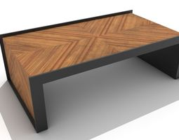 3D model Angled Wood and Metal Wrap Around Coffee Table