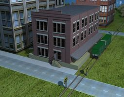 3D asset Railway Transfer Building