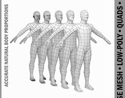 Male Body Base Mesh in A-Pose 3D model low-poly