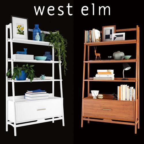 West Elm Mid Century Bookshelf Tall Wide 3d Model Max Fbx 1