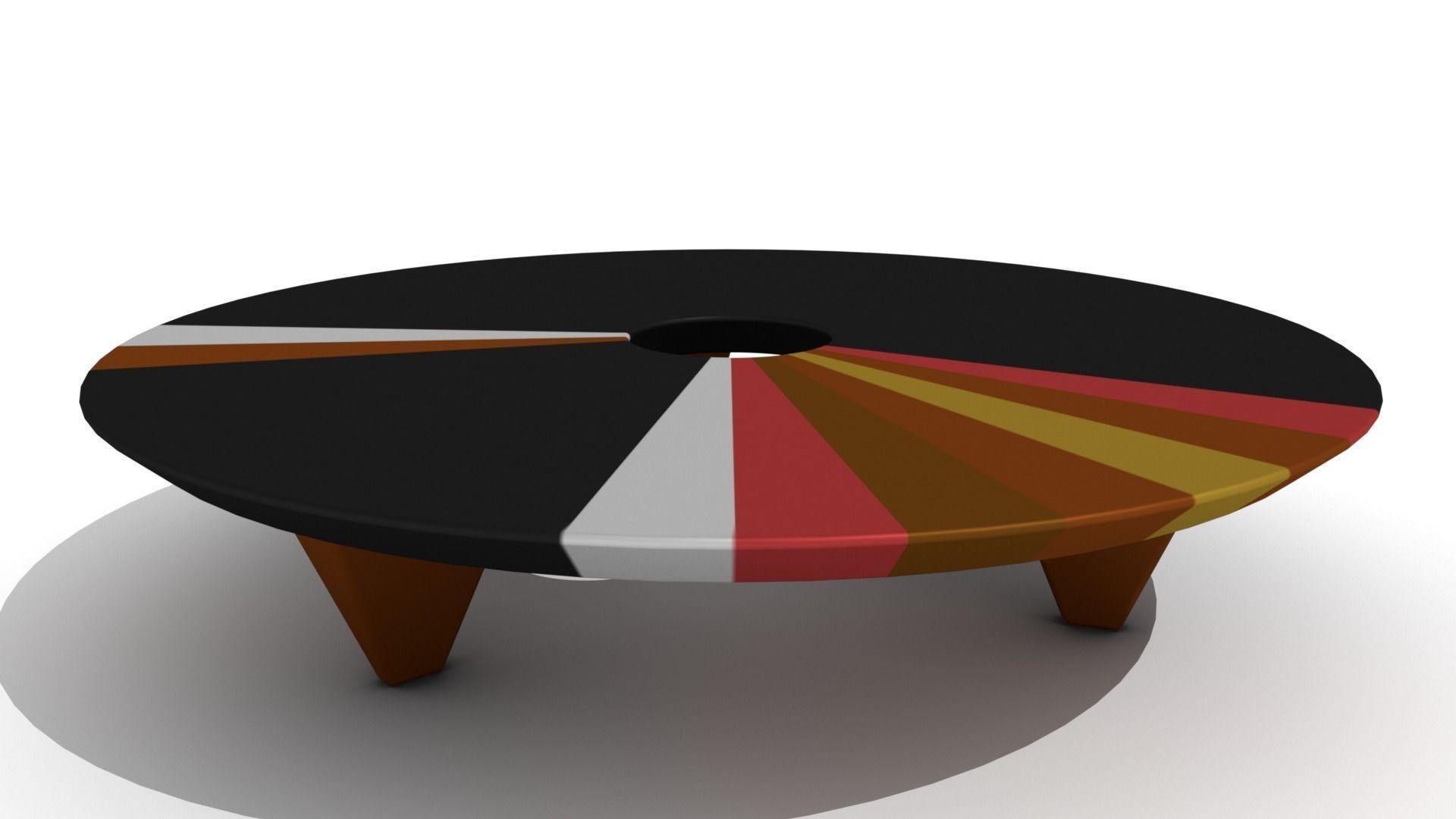 Marvelous Retro Low Wooden Ring Coffee Table 3D Model Evergreenethics Interior Chair Design Evergreenethicsorg