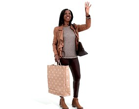 3D Waving Woman with Sopping Bag CWom0221-HD2-O01P02-S