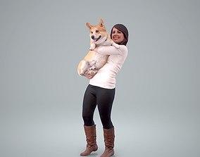 Woman Holding Dog CWom0209-HD2-O01P01-S 3D model