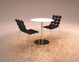3D MODERN CAFETERIA TABLE CHAIRS RESTAURANT