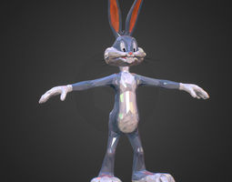 3D asset Low Polygon Art Bugs Bunny spring easter rabbit