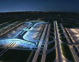 3D Beijing International Airport Nighting Sence