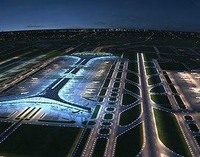 3D Beijing International Airport Nighting Sence