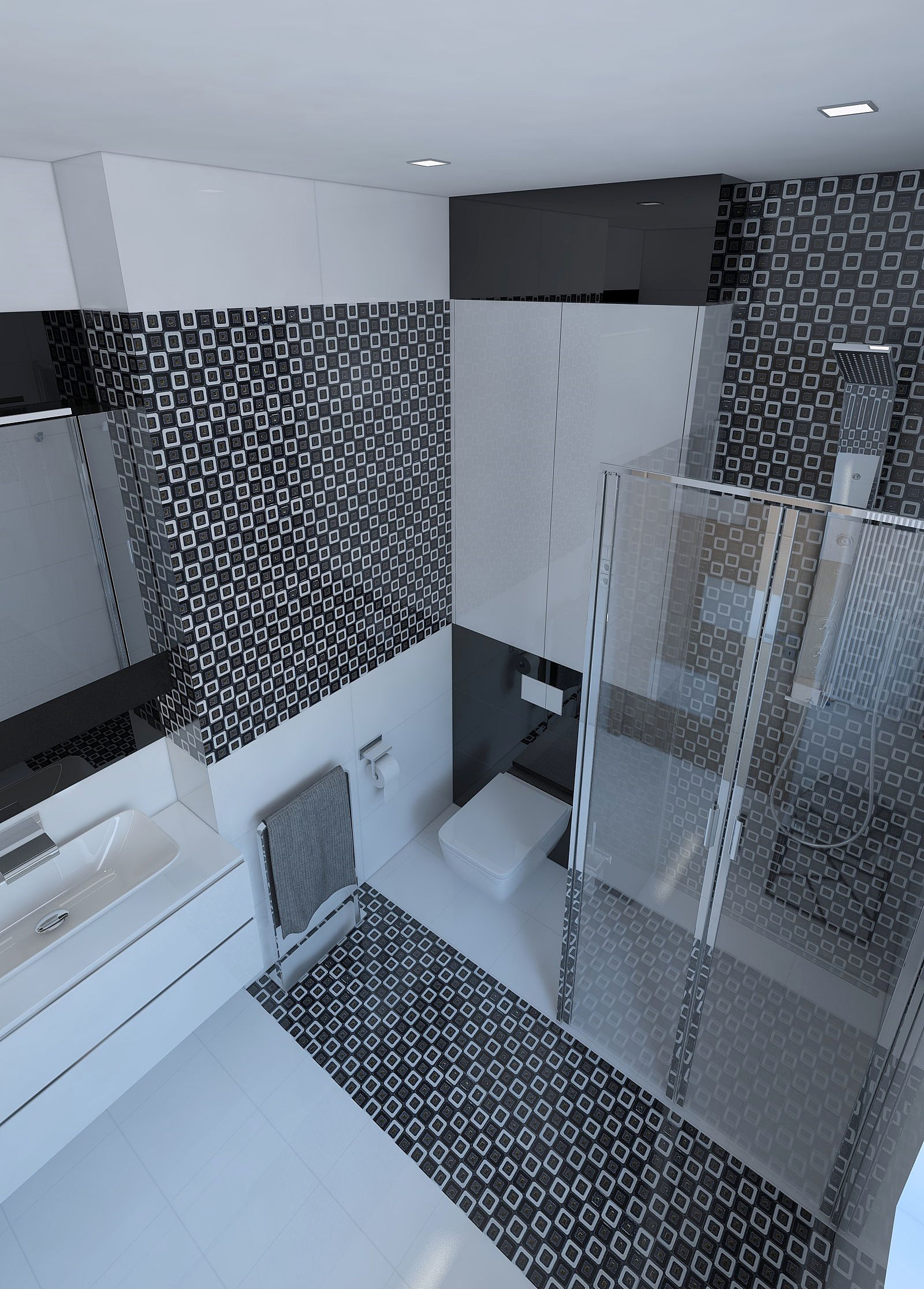 Beautiful bathroom with shiny tiles 3D model | CGTrader
