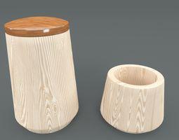 Wooden Bath Accessories 3D asset game-ready