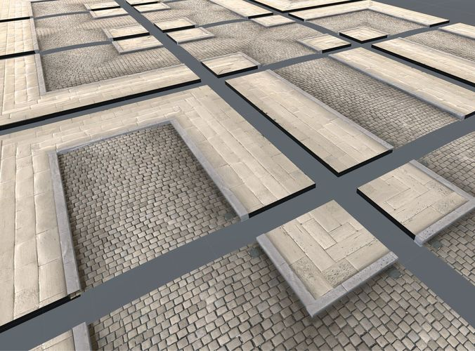modular street tile pack 3d model low-poly obj mtl 3ds fbx dae 1