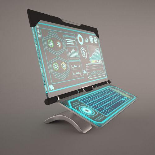 sci-fi computer with glassy hologram screen 3d model max obj mtl fbx mat 1