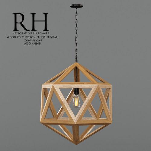 Restoration hardware wood polyhedron pendant 3d asset aloadofball Image collections
