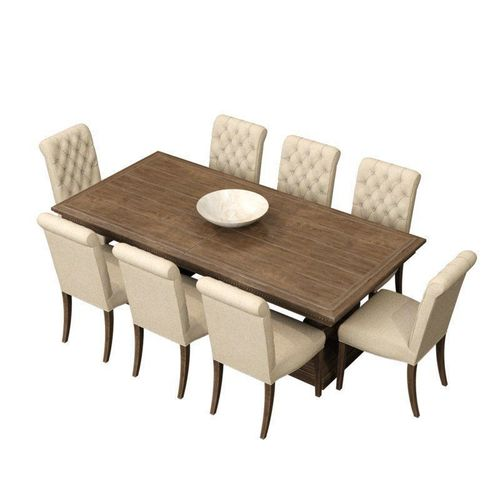rh st  james dining table bennett roll back side chair 3d model low-poly max fbx mat 1