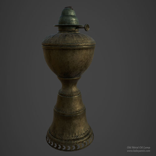 old metal oil lamp 3d model low-poly obj mtl fbx ma mb ztl spp 1