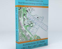 3D San Francisco SFO Airport Roads Buildings and Public