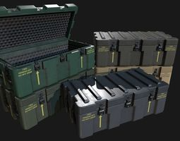 3D model Low Poly PBR Military Crate 3