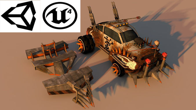 battle car 4 3d model low-poly obj mtl 3ds fbx c4d stl 1
