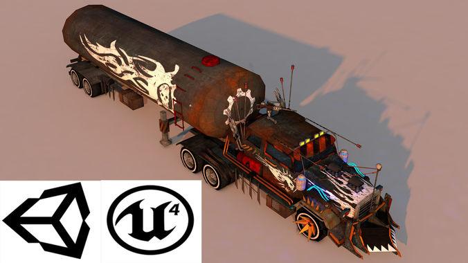 battle truck 3d model low-poly obj mtl 3ds fbx c4d stl 1