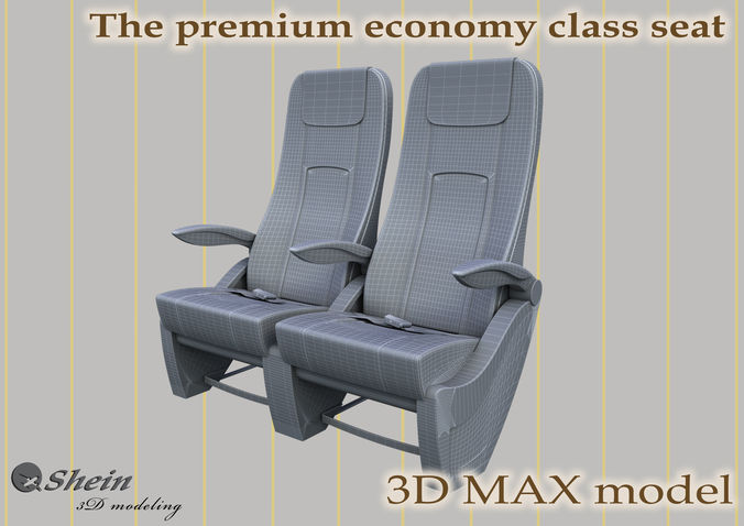 the premium economy class seat with stitches 3d model max 1