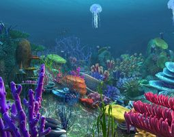 Underwater world of coral and aquatic plants 3D model 2