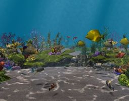 Underwater world of coral and aquatic 3D model 3