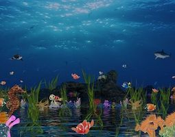 Underwater world of coral and 3D model 3