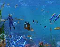 Underwater world of coral and 3D model 4