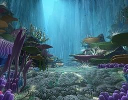 3D model Underwater world of coral and aquatic plants 2