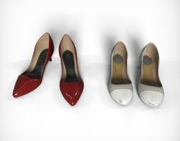 3D asset low-poly Womens Shoes