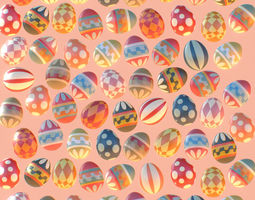 3D Subdivision Animated Easter Ornamental Eggs