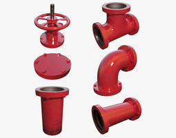 Red Painted Pipe Collection 3D