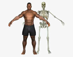 3D African American Male With Skeleton Rigged