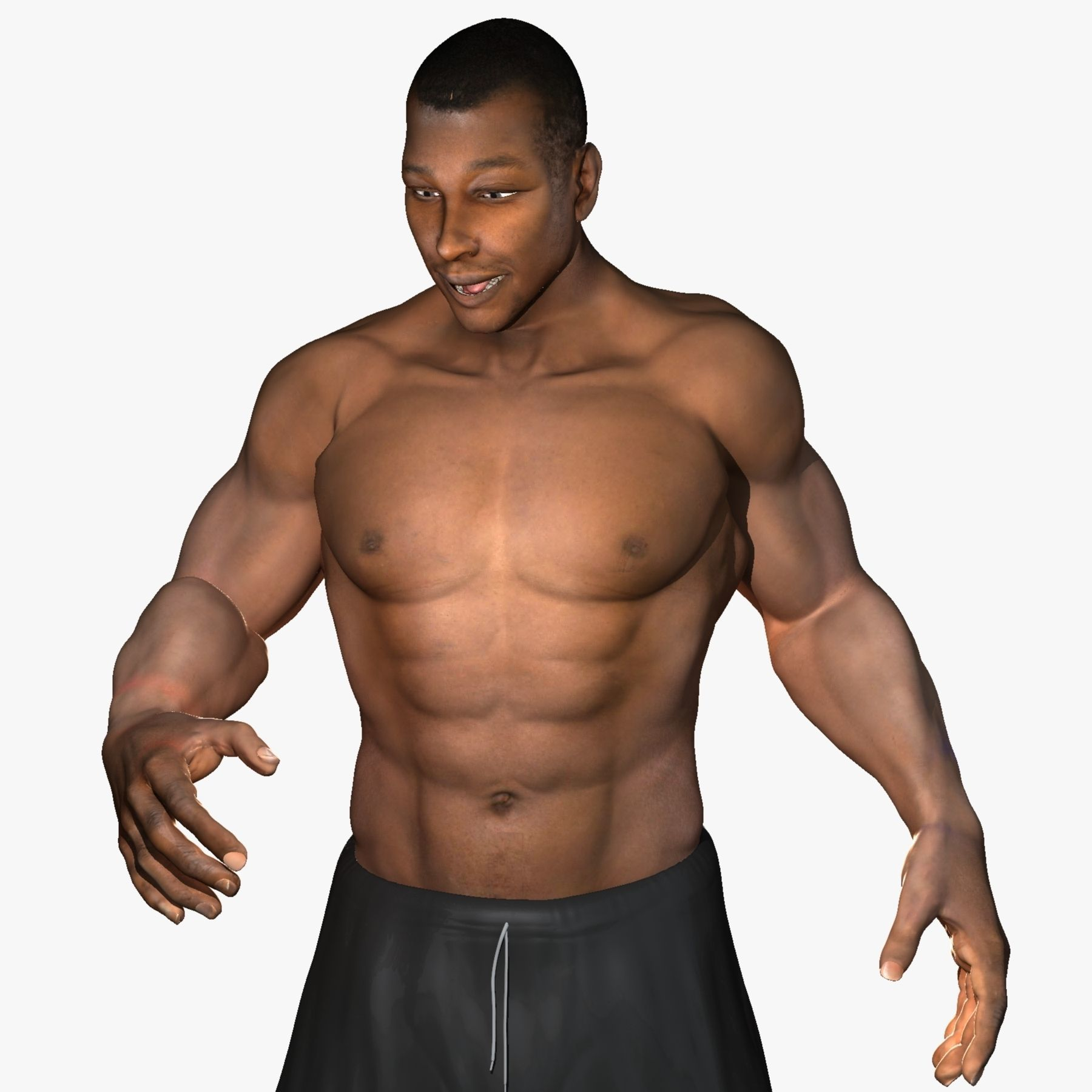 African American Male Muscular Rigged