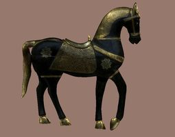 Noble horse in gold and black 3D