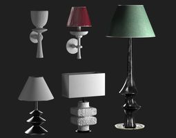 table and wall lamps set 3D model