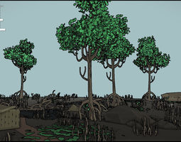 3D model low poly mangroves forest