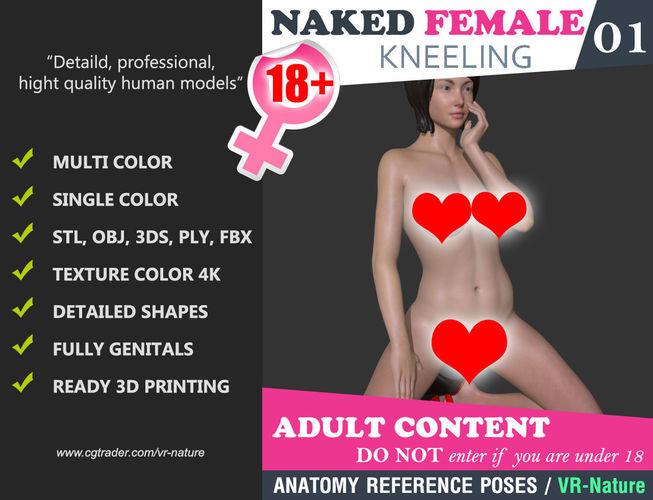 naked girl kneeling pose 001 - multi color 3d printable 3d model obj mtl 3ds fbx stl ply 1