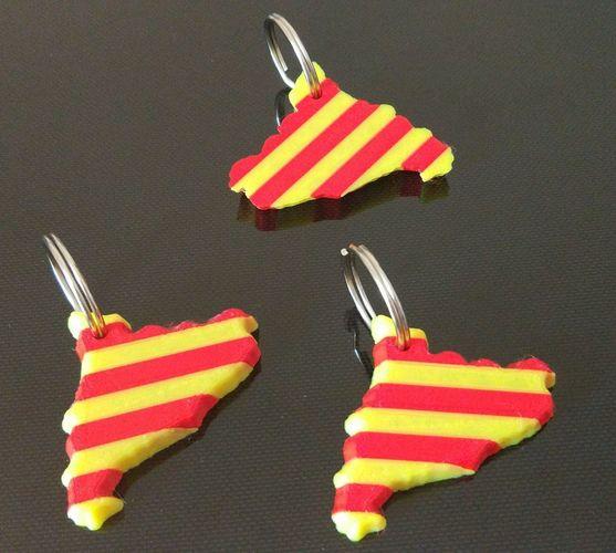 catalonia  catalunya  3d map keyring  flag 3d model stl 1