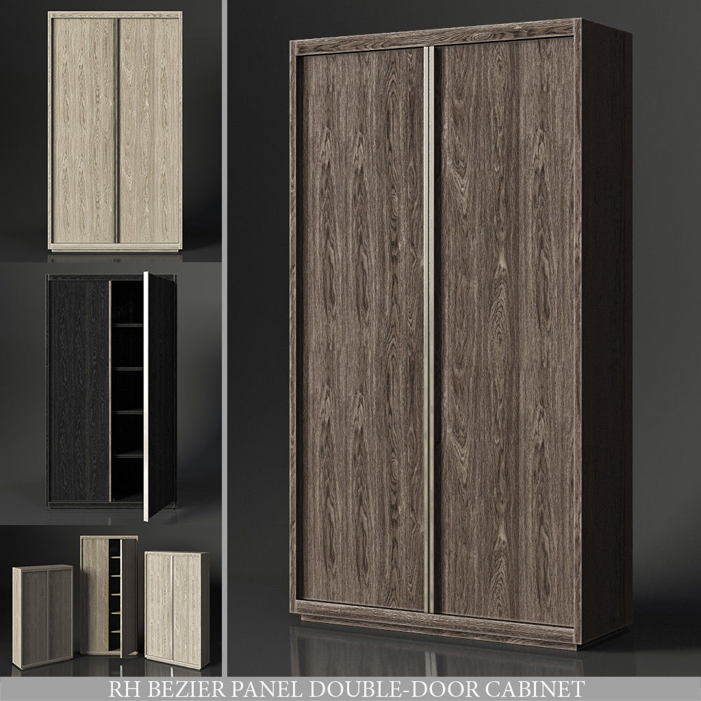 3d Model Bezier Panel Double Door Cabinet Cgtrader