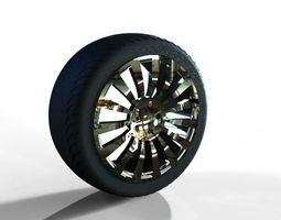 3d model alloy rim and wheel assembly