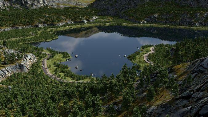 on the lakesides in blender 3d model blend 1